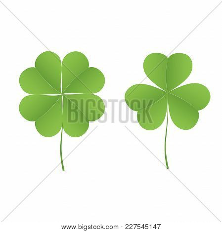 Icon Of Four-leafed Clover And Three-leafed Clover. Set Of Icons On White Background. Vector Illustr