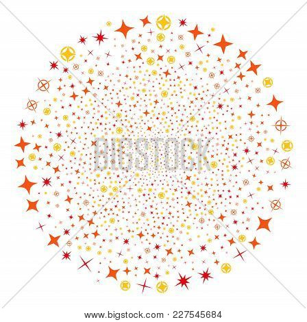 Confetti Stars Fireworks Spheric Cluster. Object Pattern Organized From Scattered Confetti Stars Pic