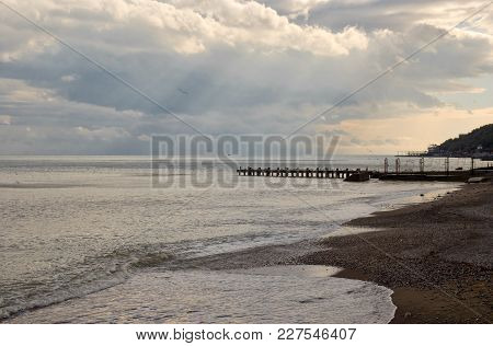 Black Sea Landscape At Fall Evening - Crimea, Ukraine.