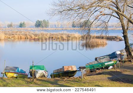 Late Autumn At Boating Station In Dnepropetrovsk City, Ukraine