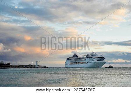 Big Ship Call In Yalta Port, Crimea, Ukraine.