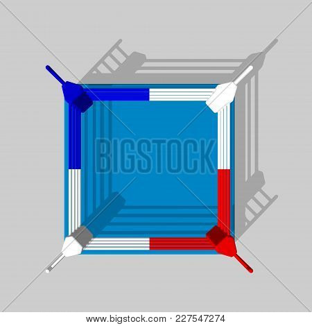 Boxer Ring. Isolated On Grey Background. 3d Vector Colorful Illustration.top View.