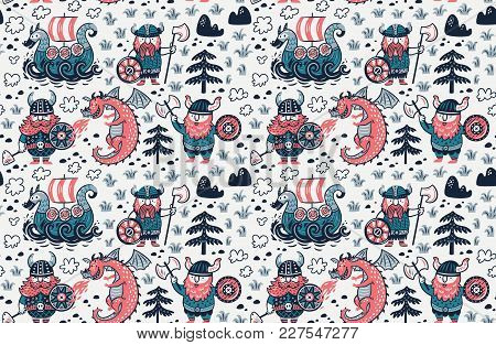 Seamless Pattern With Cartoon Vikings, Dragon And Drakkar. Vector Illustration