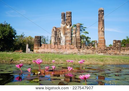 Ruins Of Ancient Budddhism Temple In Thailand. Place Or Tourist Interest In Asia