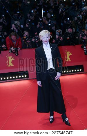 Tilda Swinton  attends the 'Isle of Dogs' premiere during the 68th  International Film Festival Berlin at Palace on February 15, 2018 in Berlin, Germany.