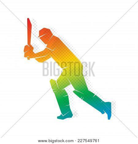 Colorful Cricket Player Hitting Big Shoot Concept Design