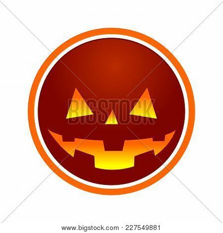 Evil Jack O Lantern Circle Symbol Vector Graphic Design
