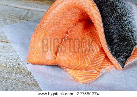 Delicious Salmon Steak With Fresh Fresh Salmon Steaks. Raw Salmon