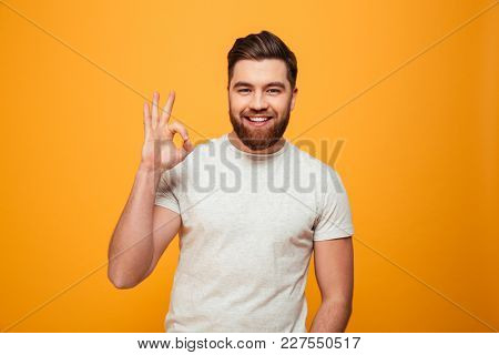 Portrait of a smiling bearded man showing ok gesture isolated over yellow background