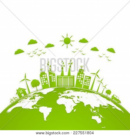 Ecology Concept With Green City On Earth, World Environment And Sustainable Development Concept, Vec