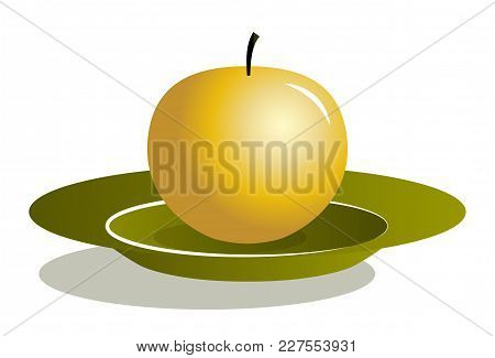Vector Golden Apple On Plate Isolated On White Background