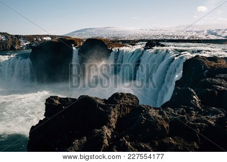 The Godafoss Waterfall Water Stones Sun Snow