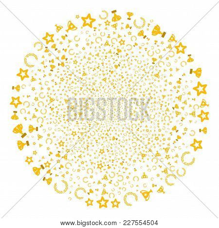 Award Cup Burst Globula. Object Pattern Created From Scattered Award Cup Icons As Explosion Round Sh