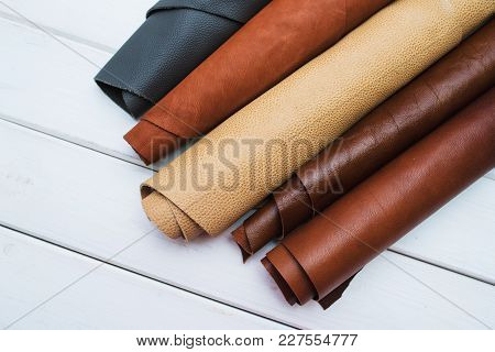 Leather Craft. Work Table Of Leather Work