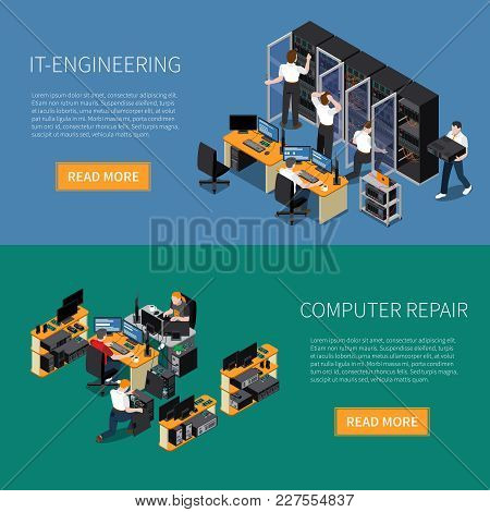 Information Technology Engineering Specialist And Computer Repair Service Horizontal Banners Set 3d