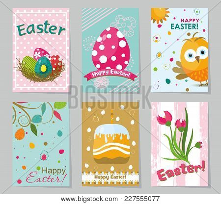 Set Of Colored Easter Greeting Cards. Design Template Creative Cards, Posters, Label, Banner, Invita