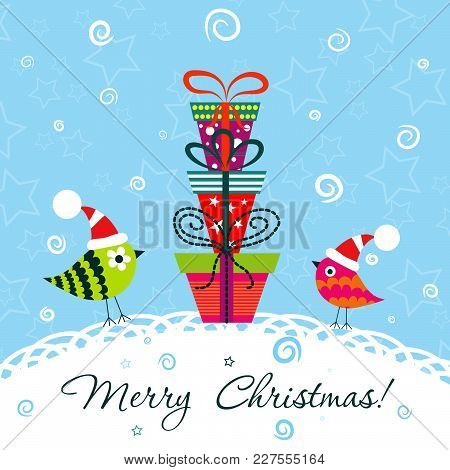 Template Christmas Greeting Card, Vector Illustration, Bird