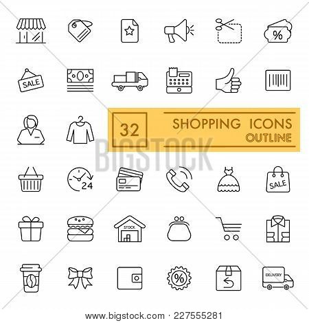 Shopping Vector Icons Set. Thin Flat Icons. Outline Design. Eps 10