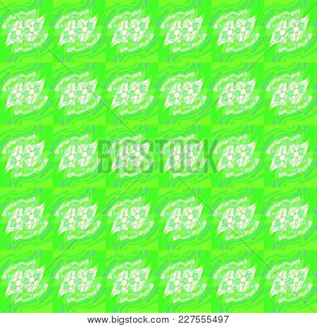 Abstract Geometric Seamless Background. Regular Intricate Pattern Bright Green With White And Purple
