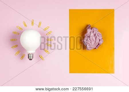 Great Idea Concept With Crumpled Colorful Paper And Light Bulb O