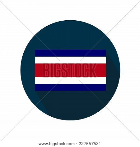 Flag Of Costa Rica On A White Background. Flag In A Circle With A Long Shadow