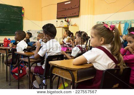 Havana, Cuba - December 3, 2017: Elementary School Class In The Carlos Paneque School Of Havana With
