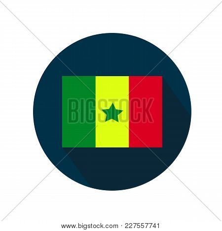 Flag Of Senegal Icon On White Background. Flag In Blue Circle With Long Shadow