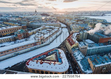 Arial View On River Moyka In Saint-petersburg, Russia.