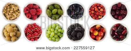 Red, Black, Yellow And Green Food. Fruits And Berries In Bowl Isolated On White. Sweet And Juicy Ber