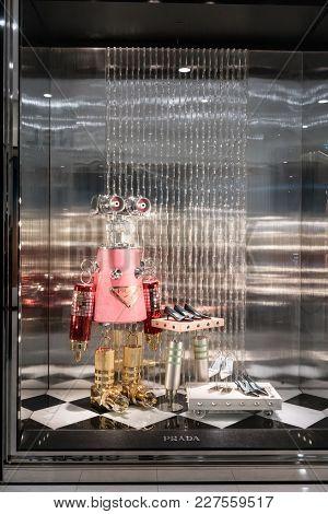 Prada Shop At Emquatier, Bangkok, Thailand, Nov 23, 2017 : Luxury And Fashionable Brand Window Displ