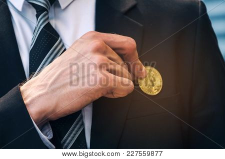 Close Up Hand Of Smart Business Man In Black Suit Pick Blur Coin From Suit Pocket On Modern City Bac