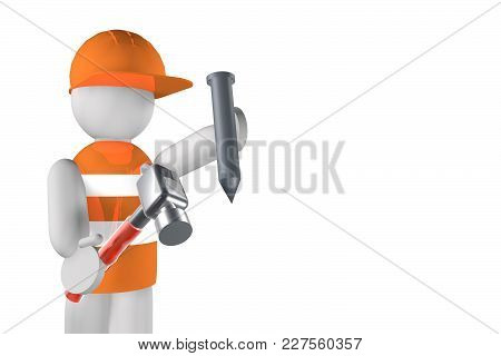 Worker With Hammer And Nail Over White Background, 3d Rendering