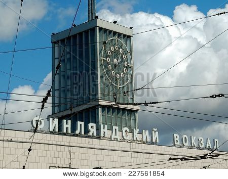 Saint-petersburg, Russia - May 16, 2006: Clock On Building Of The Finland Station