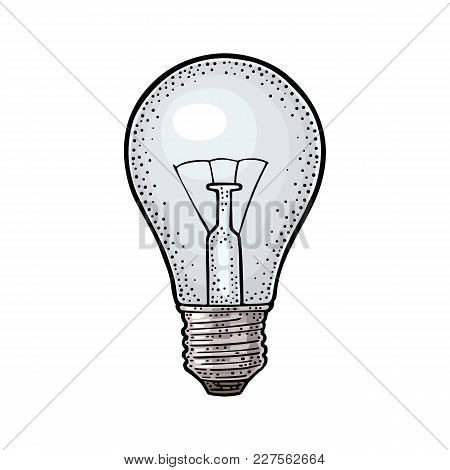 Glowing Light Incandescent Bulb. Vector Vintage Color Engraving Illustration. Isolated On White Back