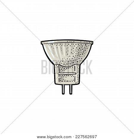 Halogen Lamp. Vector Vintage Color Engraving Illustration On White Background. Hand Drawn Design Ele
