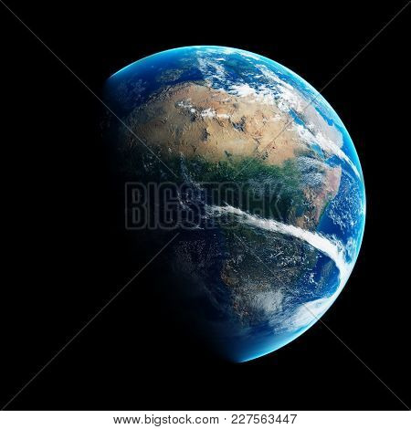 Blue Earth with day and night illustrated over Africa. Detailed 3D render on black background ( Elements of this render furnished by NASA )