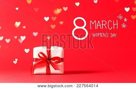 Women's Day Message With Present Box With Heart Lights