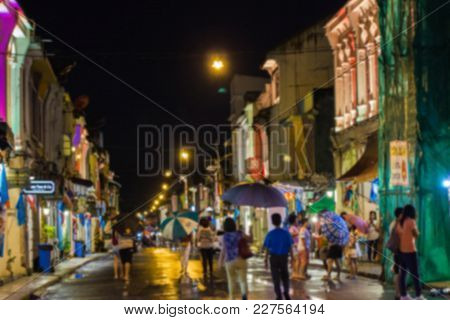 Blurred - Phuket Thailand - Tourist Walk Around At Night Walking Street Of Phuket Tourists Shop At T