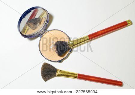 Brushes For Applying Makeup.they Are Used By Women For Face Makeup.