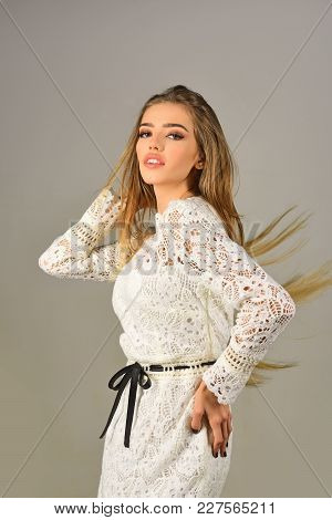 Makeup, Hairdresser, Cosmetics, Look. Woman In Stylish Dress, Glamour, Elegance. Fashion Model Pose