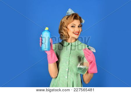 Cleanup, Cleaning Services, Wife, Gender. Housekeeper In Uniform With Clean Spray. Pinup Woman Hold