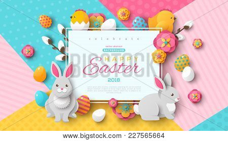 Easter Card With Square Frame, Spring Flowers And Flat Easter Icons On Colorful Modern Geometric Bac