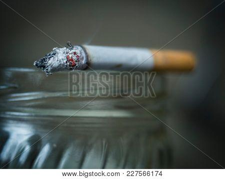 Smoking cigarette close-up
