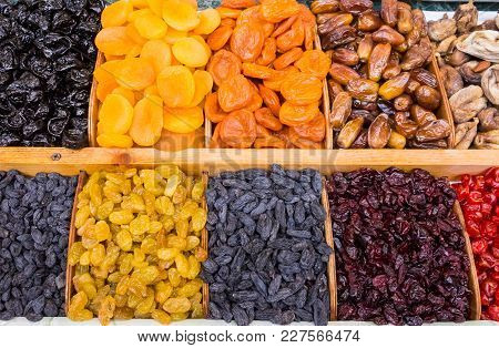 Dry Fruit Mix On A Pile On A Food Market, Coloful Dry Fruits, Dried Fruits, Different Types Of Dry F