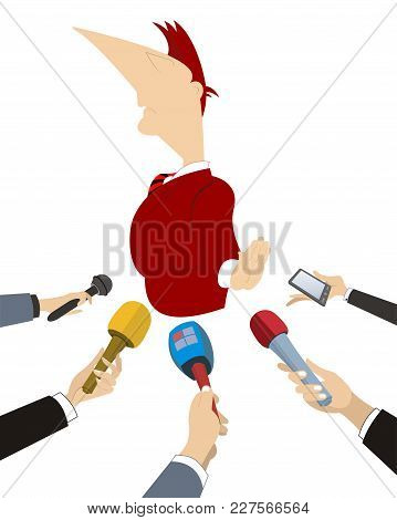 Politician Does Not Want To Give The Interview To Mass Media Illustration. Hands Of Reporters With M