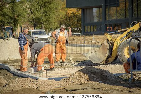 October 2017, Belgrade Serbia: Renovation Of Museum Of Modern Art In Belgrade, Earth Diggers, Bulldo