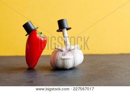 Mister Red Pepper Garlic Black Hat. Stylish Old Fashioned Red Sweet Vegetable Character, Black Stone