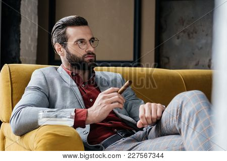 Fashionable Man With Cigar And Ashtray Sitting On Couch