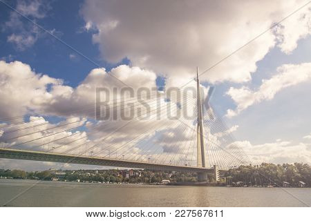 October 2017, Belgrade Serbia: Bridge Over Ada - Most Na Adi -, Contemporary Bridge Over Sava River