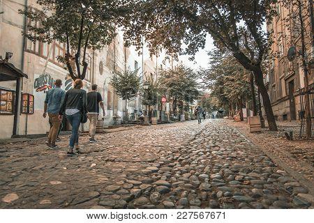 Belgrade Serbia, September 2017: Skadarlija Street, Popular Tourist Attraction , Old Belgrade. Fille